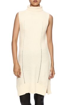 Sleeveless cream turtle neck knit tunic with a high-low hem.    Sleeveless Cream Knit Top by Freeway. Clothing - Sweaters - Turtleneck Massachusetts