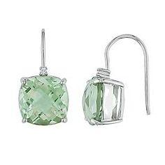 10k White Gold Green Quartz & Diamond Accent Drop Earrings