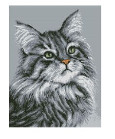 szary 1 Cat Cross Stitches, Counted Cross Stitch Patterns, Cross Stitch Designs, Cross Stitching, Cross Stitch Embroidery, Pixel Art Templates, Cross Stitch Collection, Pattern Pictures, Plastic Canvas Patterns