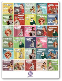 Sassy housewife One x sheet of planner stickers cut and ready for use in your planner, calendar, or scrapbook!Please see the FAQ tab for information on sticker material and pen use.