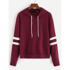 Burgundy Varsity Striped Drawstring Hooded Sweatshirt ($16) ❤ liked on Polyvore featuring tops, hoodies, burgundy, hoodie pullover, purple hooded sweatshirt, burgundy hoodie, hooded pullover sweatshirt and hoodies pullover