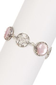 Sterling Silver Pink Mother of Pearl Station Bracelet - Multiple Lengths Available