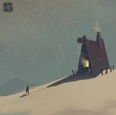 winter house by Alexandr Pushai, via Behance