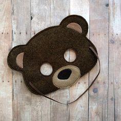 Teddy Bear Felt Mask in 2 Sizes, Elastic Back, Brown Acrylic Felt and Tan Embroidery, Halloween Cost