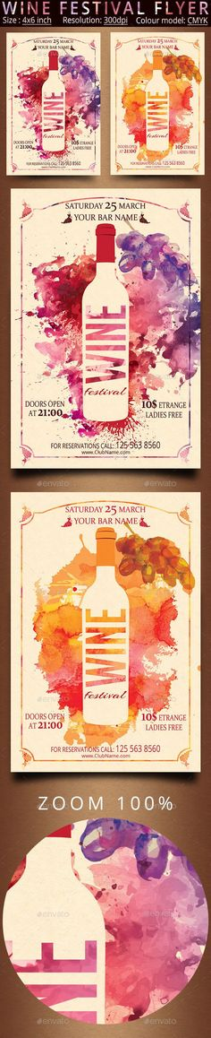 Buy Wine Festival Flyer by oloreon on GraphicRiver.PSD fully layered files Drawn in Photoshop CC Size: + bleed Resolution: Col. Web Design, Layout Design, Design Art, Print Design, Festival Flyer, Wine Festival, Design Poster, Label Design, Template Flyer