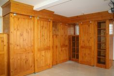 log home garage storage | Hand Made Knotty Pine Garage Cabinets by Two Rivers Woodworking ...