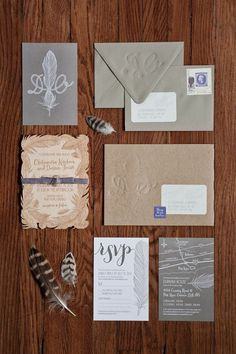 Wedding invitations brushed with a feather