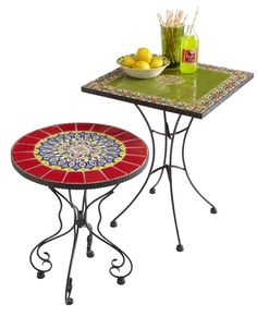 Give your patio a global pop of color with a Rania or Mariel Accent Table