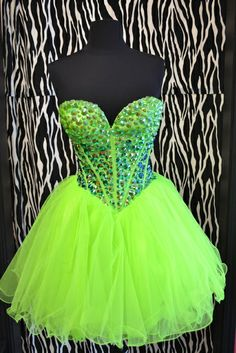Neon tulle party dress --> reminds me of my 8th grade dance dress! : )