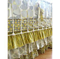 Amy Butler Tiered Ruffle Custom  Crib Bedding Set with ruffle trim bumper. $425.00, via Etsy.