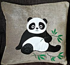 Panda pillow cushion cover Serene Panda by NaturelandsAndCo Panda Quilt, Panda Pillow, Cat Quilt, Applique Cushions, Applique Quilts, Patchwork Cushion, Owl Doorstop, Small Quilts, Baby Decor