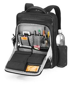 """Lowepro Tropolis 1300 -- own this, 17"""" laptop-capable, excellent quality as with all Lowepro gear -- their heritage in making really solid camera bags carries through to their backpacks; and yes! it has external pockets for water bottle and phone."""