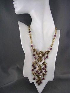 OUTSTANDING! Vintage AMETHYST Egyptian Revival Cleopatra Bib Necklace ~GOLDETTE~ #Goldette #bibnecklace