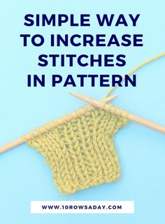 Simple way to increase stitches in pattern Easy Knitting Projects, Knitting Kits, Knitting For Beginners, Knitting Patterns, Creative Knitting, Knitting Tutorials, Knitting Ideas, Knitting Increase, How To Start Knitting