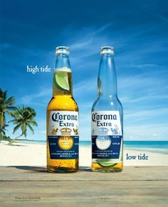 Corona Extra beer commercial on a sunny beach: One full Corona bottle and one bottle almost empty! Beer Corona, Corona Extra, Corona Beach, Cheers, Gmo Facts, Vix, Funny Commercials, Stop Drinking, Poster Layout