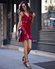 Jaclyn Ram (@myviewinheels)  New Years Eve Dress. Party Dress. Red Dress. Red ruffle dress. http://rstyle.me/n/cvuuhcb8ym7