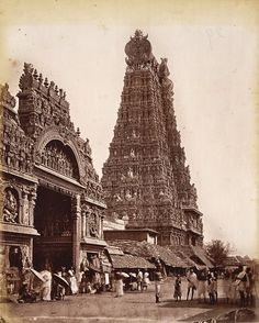 Great Gopuram (152ft) & entrance to Temple, Madura 1875 Photograph of a gopuram (tower) and entrance of the Minakshi Sundareshvara temple in Madurai, taken by Nicolas & Company in the 1870s.  (via British Library)