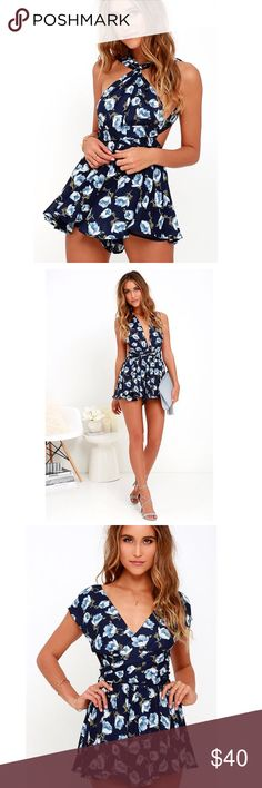 Convertible Romper Lulu's elated energy navy blue floral romper; worn once; CONVERTIBLE; light weight Lulu's Dresses