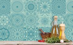 Kuchnia Mandala Fliesen Aufkleber Kachel Aufkleber Folie Set  Mintgrün Petrol 12 Stk Indisch Wandtattoo Wand Kunst Küche Bad Vinyl Sticker Dekor von Wunderwand auf Etsy