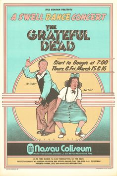 March 15-16, 1973: Grateful Dead. Nassau Coliseum, Uniondale, NY. Poster art by David Byrd. Byrd, who created this particular piece of Grateful Dead poster art, was one of Bill Graham's official East Coast designers.