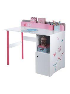 Bureau 1 tiroir 1 porte ouvrante coloris rose orchide et blanc