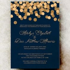 navy and gold winter wedding invitation @myweddingdotcom