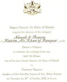 Kareena and Saifs wedding: The reception card of kareena-saif reception party