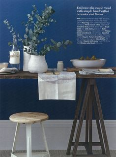 Looks like my color of paint in my living room love the color combo! Natural and rustic dining. Styling by Emma Clayton My Living Room, Home And Living, Dark Blue Walls, Grey Walls, Home Interior, Interior Design, White Vases, Rustic Industrial, Decoration Table
