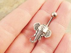 Silver Indian Elephant Belly Button Ring by MidnightsMojo on Etsy