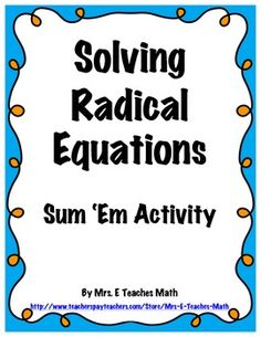 Worksheets Radical Equation Review Worksheet Match Up equation and activities on pinterest