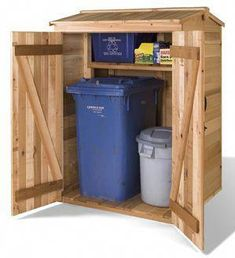 Cedarshed DIY Green Pod Sheds make a great small storage unit for housing recycling bins and garbage cans. This wooden garden shed kit includes plans.
