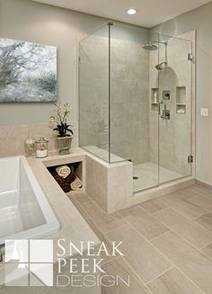 Spa inspired Bathroom, White bathroom cabinets, cambria counter top, oval swivel mirrors, heated towel, vanity cabinet, bathroom cabinet, white sinks, master bathroom remodel, bathroom remodel ideas, towel nook, place for towels, shower bench, bench in shower, light tiles, bathroom tub ideas, large floor tiles, 12 x 24 tile, glass shower door, shower shelves, shower niche, shampoo shelf, minneapolis designer, bathroom ideas, bathroom renovation, master suite, ensuite ideas
