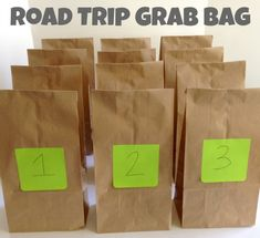 Road Trip Grab Bags -  some great ideas here, but be creative - use them to come up with some of your own ideas. I like the idea of opening one bag an hour. That will shorten the trip!