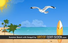 Summer Beach with Seagulls Vector