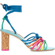 Sophia Webster Rainbow Tied Sandals (1.970 RON) ❤ liked on Polyvore featuring shoes, sandals, heels, tie shoes, leather heeled sandals, genuine leather shoes, blue leather shoes and blue shoes