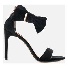 Ted Baker Women's Torabel Velvet Barely There Heeled Sandals (1.360 NOK) ❤ liked on Polyvore featuring shoes, sandals, black, black bow sandals, black heeled sandals, black ankle strap sandals, open toe heel sandals and heeled sandals