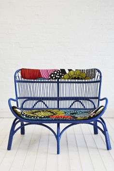 Rattan Slouch Couch Royal Blue