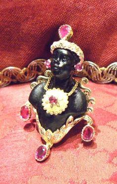 Ebony Blackamoor Bust Ring  ~ 18 kt yellow gold, rubies, diamonds