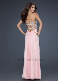 La Femme 17437 - Cotton Candy Pink Strapless Open Back Dress, Prom Dresses 2013 - RissyRoos.com