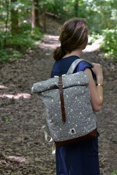 Fox patterned Canvas and leather backpack by schalleszter on Etsy