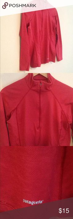 Women's baselayer Good condition women's Patagonia baselayer that is a deep coral color. Fantastic all around shirt for play or casual wear. There's a small amount of pulling around the collar that I photographed to be honest but it's hardly noticeable and easily removed. Patagonia Tops Sweatshirts & Hoodies