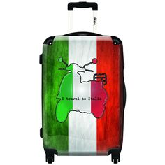 iKase Italian Flag Drawing Graphic 20-inch Hardside Carry-on Spinner Suitcase