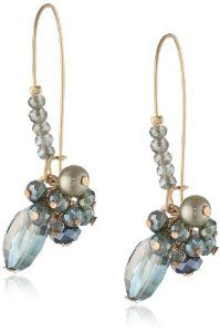 """Kenneth Cole New York """"Woven"""" Faceted Bead Cluster Long Drop Earrings"""