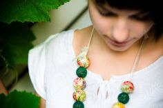 Spring,necklace,-,Floral,Necklace,Romantic,with,dreamy,decoupage,and,crocheted,wooden,beads,Jewelry,Fashion_Necklace,Green_Necklace,Flower_N...