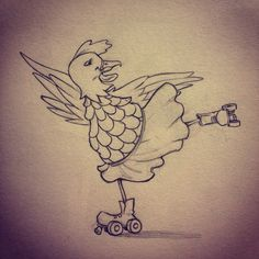 Roller skating chicken 2015 sketch by Candace Camling #showyourwork #illustration