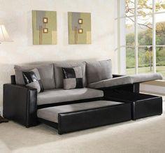 Black and grey sectional sleeper sofa
