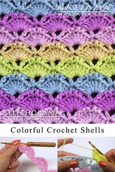 Colorful Shell Stitch Learn how to make a colorful shell stitch pattern. This is a crochet stitch in the Stitchorama by Naztazia collection. A DIY crochet project by Donna Wolfe from Naztazia. Crochet Stitches Free, Crochet Shell Stitch, Tunisian Crochet, Crochet Needles, Hand Crochet, Crochet Baby, Free Crochet, Learn Crochet, Crochet Afghans