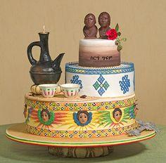 Georgeous Ethnic Wedding Cake Design by Lori Cossou - displayed at the Oklahoma State Sugar Art Show. Cake Table Decorations, Diy Wedding Decorations, Wedding Cake Photos, Wedding Cake Designs, Africa Cake, African Wedding Cakes, Ethiopian Wedding, Ethiopian Dress, Traditional Wedding Cake