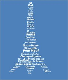 free printable of the Eiffel Tower, with words about Paris forming the shape