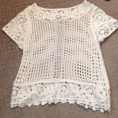 H&M Lace Top Size XS Cream colored lace sweater, worn once.  Beautiful statement top for the season!! H&M Tops